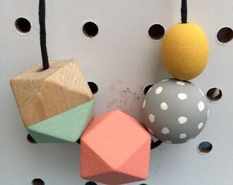 grab bag wooden bead necklace - geometric pastel polka dot