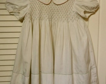 1930's French Child's Hand Smocked Dress