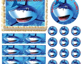 Great White Shark Edible Cake Topper Image, Shark Cake, Shark Cupcakes, Shark Party Supplies, Edible Images, Edible Photo for Cake, Shark
