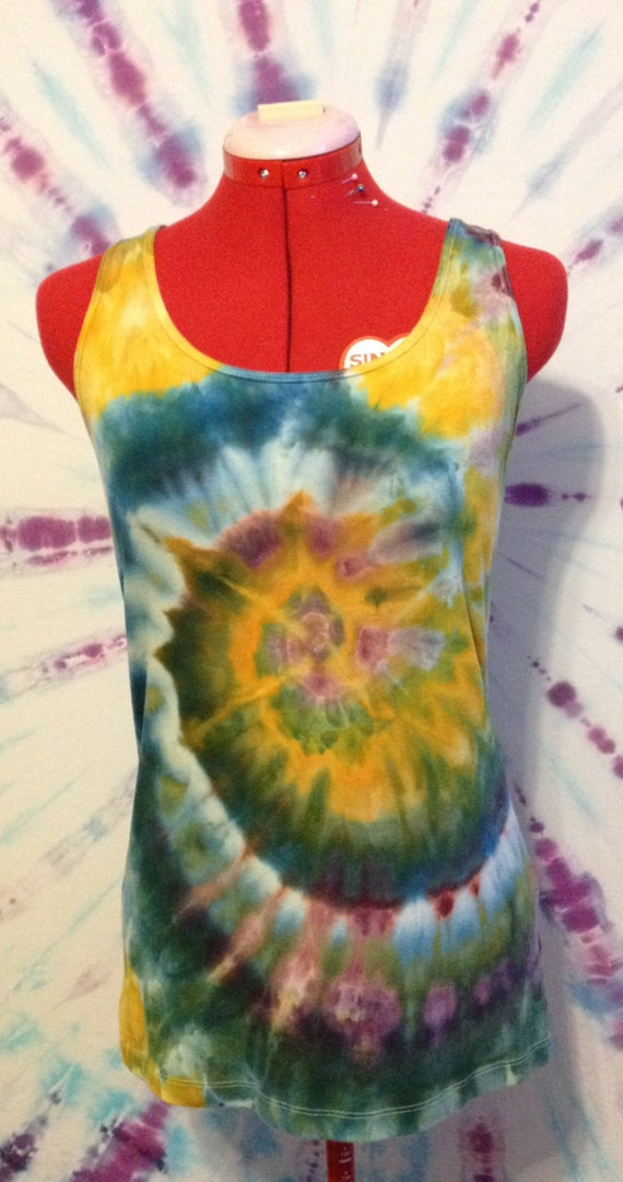 Tie Dye Tank Top Ice Dyed In Purple, Orange, and Green Size Large