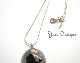 Papercut Poodle Resin Pendant jewellery