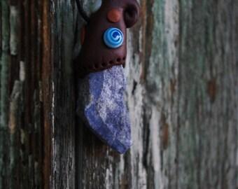 Pendant lazurite, Lapis Lazuli handmade - Lithotherapy - Pierre and Fimo - ॐ