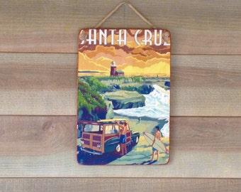 Santa Cruz - decorative wood - print on wood panel - retro panel - wall plate