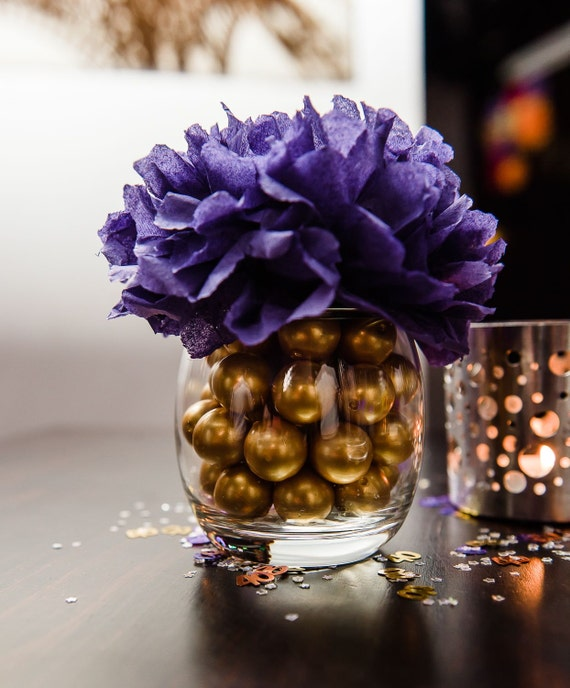 Paper flower table centerpiece purple and gold
