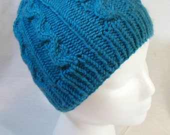 Wool Cable Knit Hat - Blue