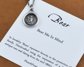 Silver Bear Necklace- Silver bear jewelry featuring a tiny silver bear pendant - Bear me in mind - 263