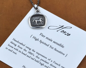 High spirited yet sensitive - Horse wax seal necklace in silver - Equestrian Jewelry - Equestrian Necklace - Horse Necklace - 219
