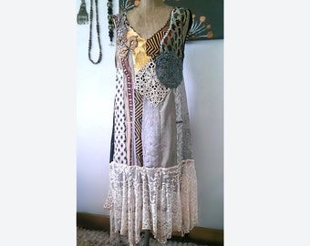 Swamp Gypsy Dress, Patchwork, Recycled Fabrics, Tattered, Beaded Lace, Boho Dress, Gothic, Dark and Pretty