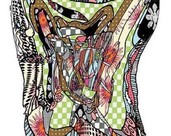 Artsy, mix, Illustration, 11x14, print, Abstract, Art, Funky, Drawing, Painting, doodles, Ingrid Padilla