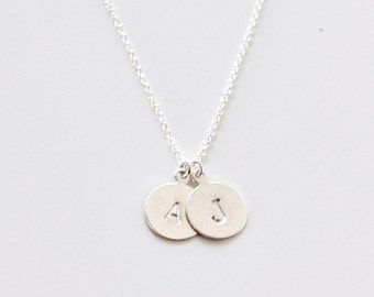 Two Initial charms silver necklace - personalized necklace - round pendants - sterling silver monogram necklace - 2 Silver initial tags