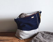 Linen Project Bag Large, Organic Knitting Bag, Navy Toiletries Bag, Natural Flax Clutch, Color Block, Thimble and Acorn
