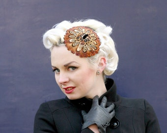 British pheasant feather mini beret headpiece: vintage inspred headpiece; vintage hat for the races; artisan millinery handmade in the UK
