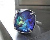 Indigo Ghost Crystal Ring, Purple Blue Violet Aqua Swarovski Crystal Ring, Antique Silver Adjustable Ring, Crystal Cocktail Ring 4470