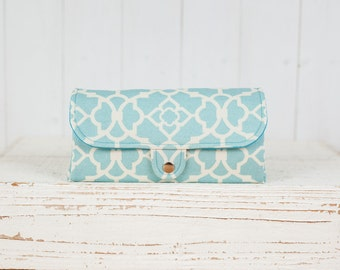 iPhone SmartPhone Clutch Wallet Purse 12 Card Slots with ID Pocket / Modern Lattice in Pastel Blue Turquoise -- Ready to Ship