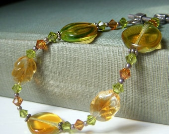 Glass Leaf Bracelet Sterling Silver, Medium Bracelet, Amber Peridot Green Swarovski Crystal Vintage Glass Bracelet