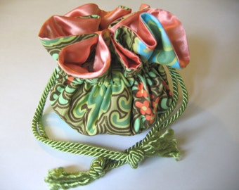 Jewelry Bag Jewelry Pouch Turquoise Peach Lime