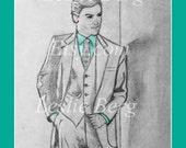 "8.5""x11"" PRINT Man in Suit by Leslie Berg with color and digital mat matte matt matting"