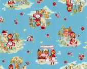 Little Red Riding Hood - Allover L5397 blue, Little Heroines by Lecien of Japan, 1/2 yard