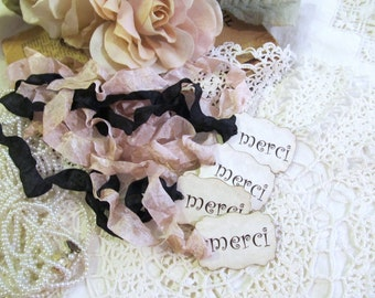 French Merci Thank You Favor Tags w/ribbons - Parchment - Set of 18 - Choose Ribbons - Paris Birthday Baby Bridal Shower Wedding