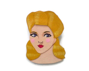 Yellow Hair Retro Pinup Girl Felt Brooch, Fabric Brooch, Wearable Art Jewelry