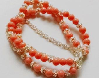 "Coral 3 Strand Silver Chain Bracelet 7.75"" Orange Free Shipping"