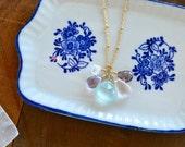 Sunset Necklace - pastel gemstone necklace, chalcedony, moss amethyst, moonstone, ametrine, rose quartz, sunset colors, purple gem necklace