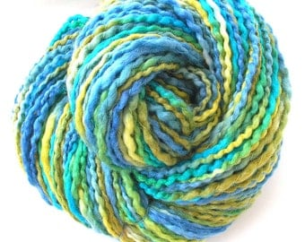 Handspun Yarn Hand Dyed Wensleydale Wool Silk Bulky Yarn 185 yards Free Shipping in USA Soft Yarn Blue Green Yellow Art Yarn - Sea Breeze