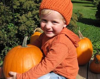 Kids Pumpkin Hat, Kids Fall Hat, Kids Crochet Hats, Boys Pumpkin Beanie, Orange Pumpkin Hat, One Size Fits Most Kids 3 -12 years old