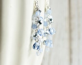 Light Blue Earrings - Ice Blue Dangle Earrings with Silver Plated Hooks, Pale Blue Cluster Earrings, Blue Bead Earrings, Fashion Jewelry