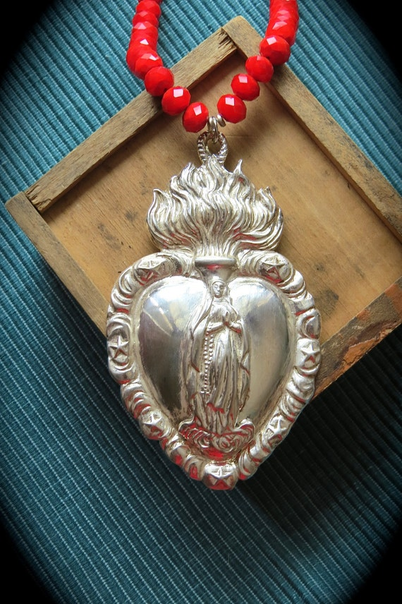 MARY'S LOVE-  Stunning Large German Ex Voto MADONNA  Sacred Heart Milagro- For your Loved one