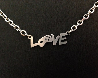 Gaming Love Necklace - video game jewelry geek pendant 8bit statement zelda scott pilgrim