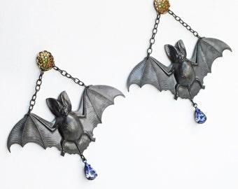 Large Bat Earrings Vintage Green Stones Black Bat Earrings Antiqued Brass Bat Jewelry Studs Statement Jewelry