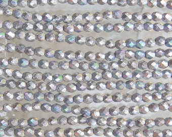 4mm Faceted Metallic Silver AB Etched Firepolish Czech Glass Beads - Qty 50 (DW130)