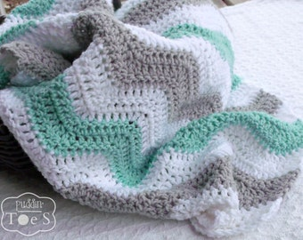 Mint Gray Chevron Baby Blanket, Mint Green Baby Blanket, Gray Baby Blanket, Mint Grey Nursery, Crochet Baby Blanket