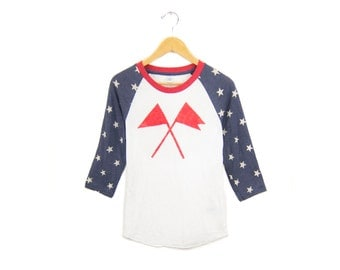 Flags Raglan Tee - Boyfriend Fit Crew Neck 3/4 Sleeve Raglan Tshirt in Navy and Red Stars and Stripes - Women's Size M-2XL