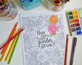 Printable Coloring Page, How does your garden grow?, Adult Coloring Page, Digital, Instant Download, Illustration, Illustrated Flowers