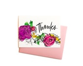 Thank You Note, Watercolor Flowers Thanks Greeting Card, Single Thank You Note with Handwritten Typography