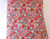 Pandas Red and Pink Floral Fabric from Kobayashi of Japan - Half Yard - 1/2 Yard - Sweet Forest - Kawaii