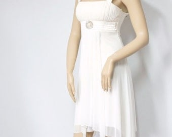 Dress Vintage Party Dress Disco Style Dress 1990's Creamy White Sleeveless Cocktail Wedding Empire Waist Prom Dress Size Small