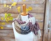 Stripe Scarf, Sweater Knit Scarf, Fringe Scarf, Cranberry Red Scarf, Multi-Colored Scarf, Marsala, Fall Scarf, Winter Scarf, Fall Fashion