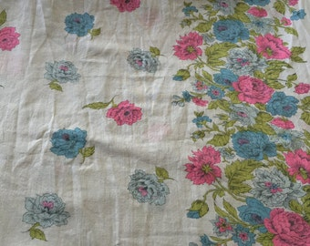 40s Striking, Floral, Border Print/ A Celebration of Hot Pink, Baby Blue Flowers, Olive Leaves/Dead Stock/All cotton/ BTY