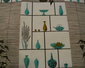 "60s MCM, Vintage, Geo Kitch Print//World of Glass ""Knick Knack"" Turq, Olive Vases, Teapots, Silhouetted Planters// Choco Slatted Screen"