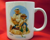 Vintage Norman Rockwell Catching the Big One Cup Mug