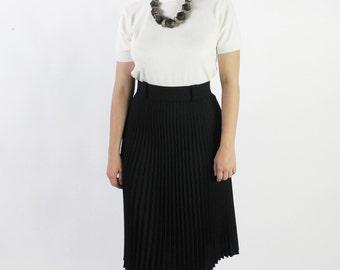 30% OFF SALE Vintage 80s Black Wool Pressed Pleat Midi Skirt | 8