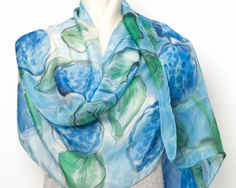 Mother Day Present Elegant  Hand Painted Silk Chiffon Scarf Blue Hydrangea Spring Blossom Floral READY TO SHIP