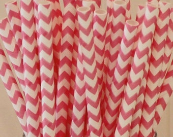 Paper Straws, MADE IN USA, 25 Hot Pink Chevron Paper Straws, PInk Paper Straws, Bachelorette Party, Baby Shower, Birthday, Wedding Straws