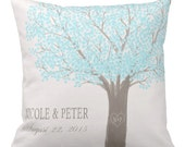 Wedding Gift Personalized Pillow Cover Turquoise Leaves Heart Tree Carving