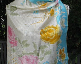 "Vintage Mid-Century Vera Pink & Yellow Roses Large Silk Scarf, 29"" Square"