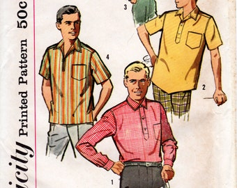 1960s Mens Sports Shirt Pattern - Vintage Simplicity 4452 - UNCUT Size Small Chest 34 36