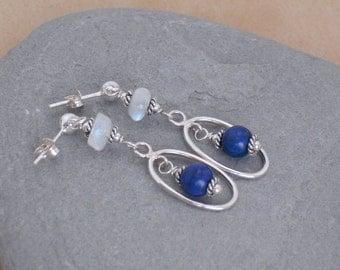 Earrings Lapis Lazuli and Moonstone Sterling Silver Dangle Earrings, Blue Stone Earrings